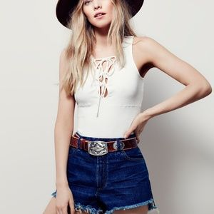 NWOT Free People Emmy Lou Lace Up Tank in White